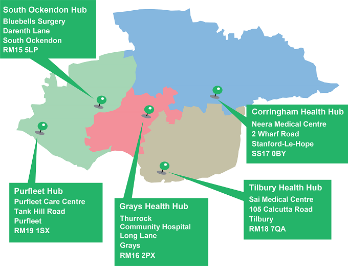 health hub map April 2018
