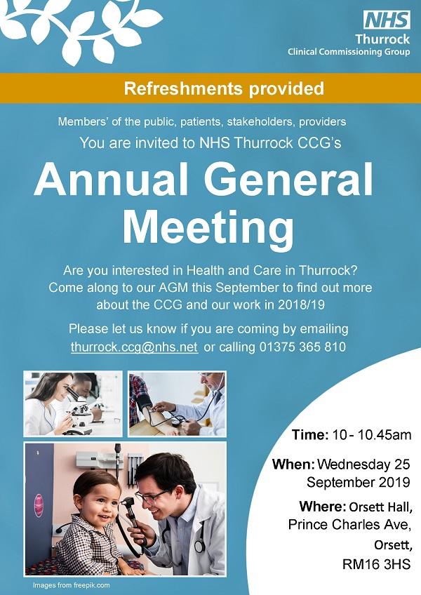 NHS Thurrock CCG Annual General Meeting invitation Wednesday 25 September 2019
